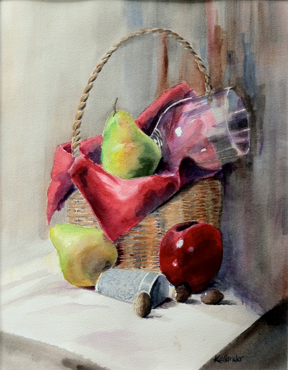 Apples and Pears with Basket
