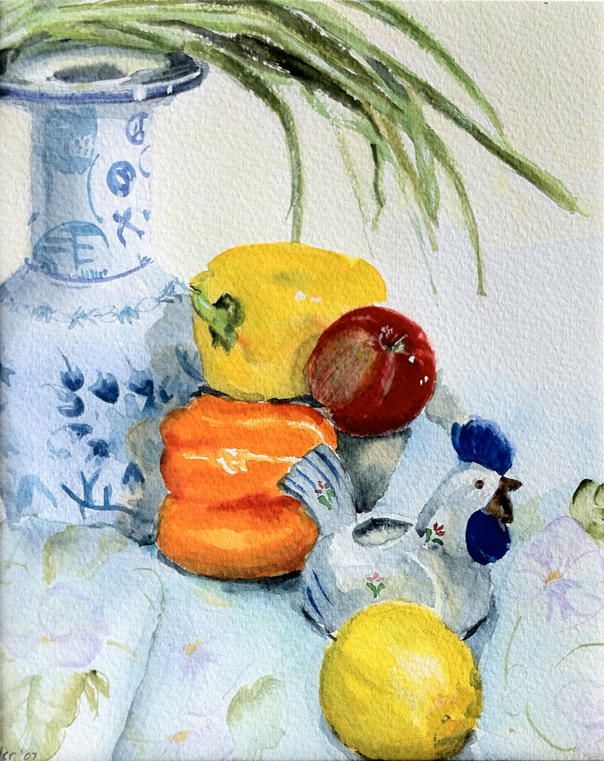 Japanese Vase and Peppers